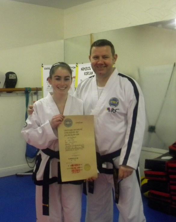 Keri receives her BLACK BELT Certificate